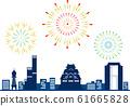Osaka Silhouette Color Fireworks 61665828