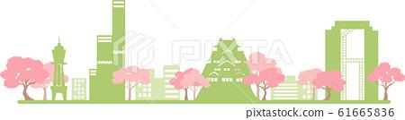大阪剪影顏色春天 61665836