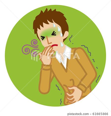 메스꺼움 남자 고교생 질병의 증상 - 원형 클립 아트 61665866