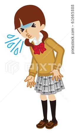 高中女生打噴嚏-感冒症狀-全身 61665888