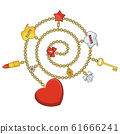 Trendy pendant with chains, heart and bow. 61666241