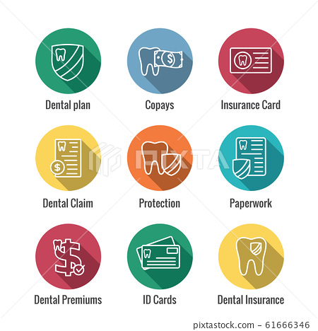 Dental Insurance Outline Icon set with tooth image 61666346