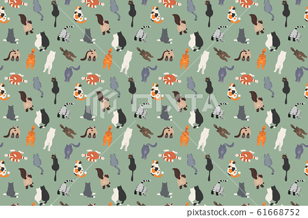 Cats poses behind. Cat`s butts. Flat design 61668752