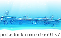 Ice cubes floating water with splashes and drops. 61669157