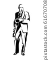 standing saxophone player black and white vector figure outline 61670708