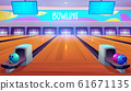 Bowling alleys with balls, pins and scoreboards. 61671135