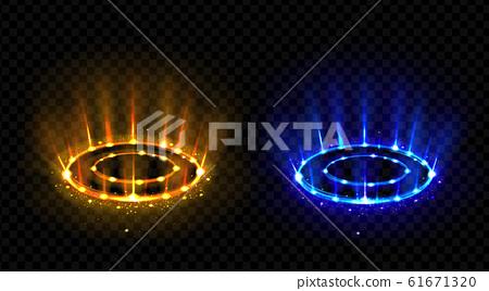 Neon versus round rays. Hologram effect vs circles 61671320