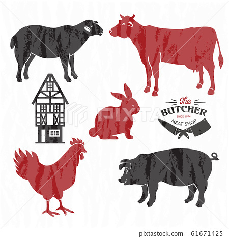 Animal farm set. Cut of beef, pork, lamb, chicken. Poster Butchers for groceries, meat stores, butcher shop, farmer market. Cow, pig, sheep and chicken silhouette. 61671425