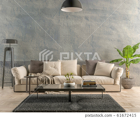 Interior empty wall by Day - 3D render 61672415