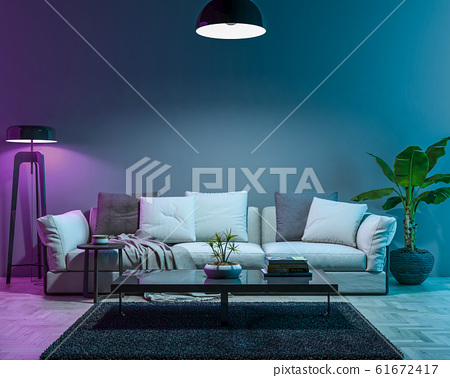 Interior empty wall by Night. 3D render 61672417