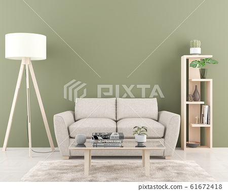 Interior with empty green wall in background.3D 61672418