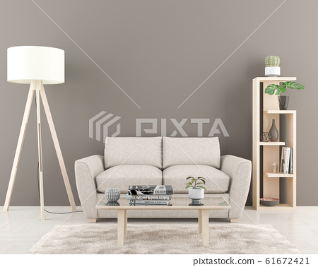 Interior with empty dark grey wall in background. 61672421