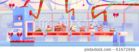 Conveyor with Christmas candy and sweets factory 61672666