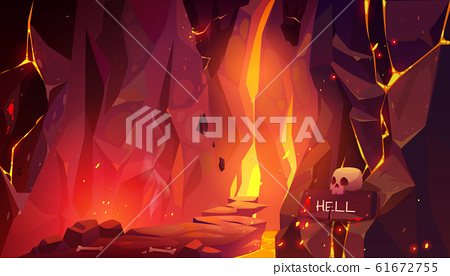 Road to hell, infernal hot cave with lava and fire 61672755