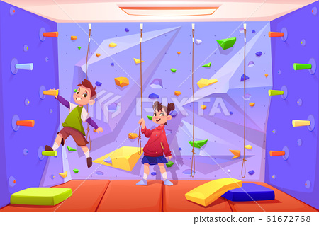 Kids climbing wall, playing in recreation area 61672768
