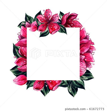 Flowers pink petal blossoms frame, watercolor 61672773