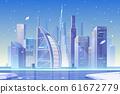 Winter city skyline at frozen bay, architecture 61672779