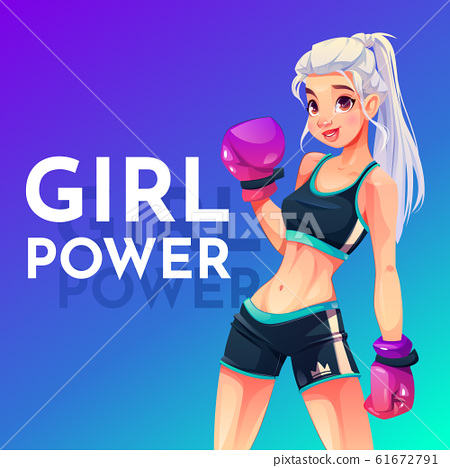 Woman in boxing gloves and sportswear with crown 61672791