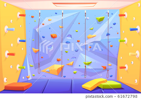 Rock climbing wall with grips, mats and ropes 61672798