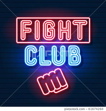 Fight Club Logo Neon Sign Vector . Neon Banner, 61674260