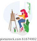 Art studio interior. Woman artist drawing. 61674902