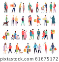 Flat icons of people daily activity and shopping 61675172