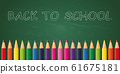 back to school colorful pencils on school blackboard background 61675181