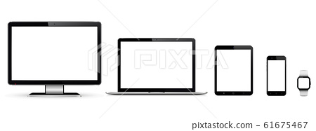 Set of blank screens with computer monitor, laptop, tablet, and smartphone 61675467
