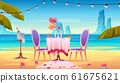 Table at sea beach served for romantic dating 61675621