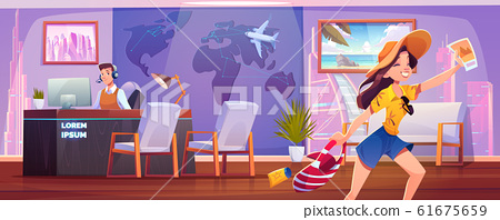 Woman in travel agency buying tour for vacation 61675659