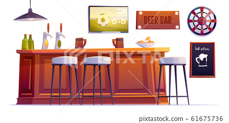 Beer bar stuff, pub desk with bottles and cups 61675736