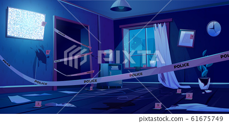 Crime scene at night, murder place in dark room 61675749