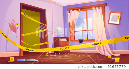 Crime scene, murder place with yellow police tape 61675770