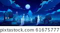 Ghosts on cemetery, old graveyard at dark night 61675777