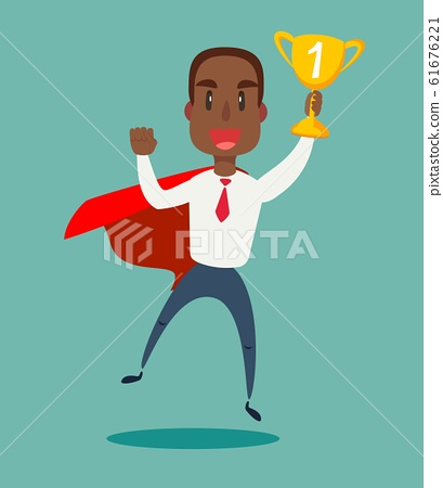 Businessman in a red cloak holding winner cup. Superhero of business. 61676221