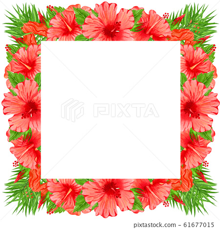 Watercolor frame with red hibiscus flowers. Hand drawn floral border with tropical flowers and leaves. Wedding invitation, greeting card, design. Tropical wreath. 61677015