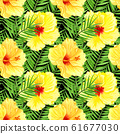 Watercolor seamless tropical floral pattern. Yellow hibiscus and palm leaves on black background. Hand drawn watercolor seamless pattern with colorful tropical flowers. 61677030