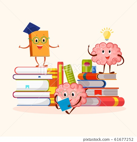 Books and human brain funny characters education and studying concept vector illustration. 61677252