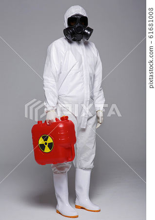 Male scientist in protective suit and antigas mask with glasses. 026 61681008