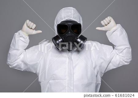 Male scientist in protective suit and antigas mask with glasses. 021 61681024