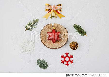 Merry Christmas seasonal concept, Christmas various decorations and gift box elements 159 61681507