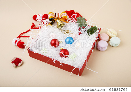 Merry Christmas seasonal concept, Christmas various decorations and gift box elements 086 61681765