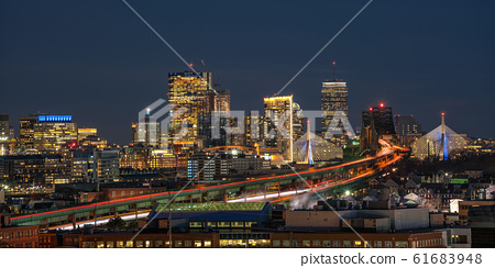 panorama for banner of Boston skyline which can see Zakim Bridge and Tobin Bridge with express way over the Boston Cityscape at twilight time, USA downtown skyline, Architecture and building concept 61683948
