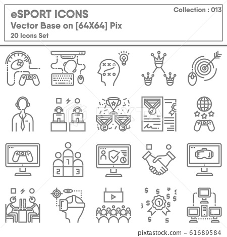 Competition eSport Gaming Icon Set, Icons Collection of Competitive Tournament Digital Game  61689584