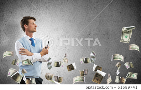 Conceptual image of young businessman. 61689741
