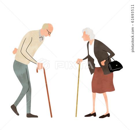 插圖素材:年長夫婦,散步,生活方式 61693511