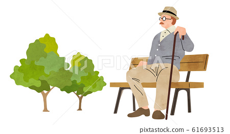 插圖素材:老人,坐在長椅上 61693513
