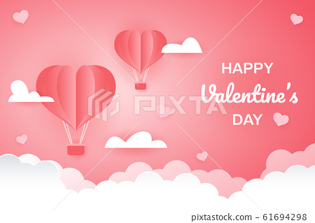 valentines day greetings card with balloons flying with clouds vector 61694298