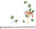 背景材料粉色和红色草莓与草莓和草莓花朵和叶子装饰在玻璃上 61694303