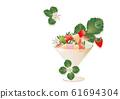 草莓和草莓花朵和叶子装饰在玻璃背景图彩色草莓 61694304